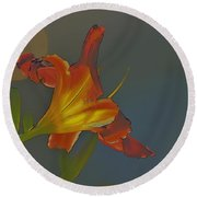 Lily Abstract Dark Background Bright Flower Round Beach Towel