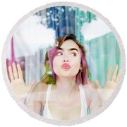 Lily Collins Round Beach Towel