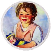 Lily Cow And The Queen 1915 Round Beach Towel
