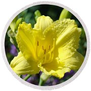 Lily Flower Art Print Canvas Yellow Lilies Baslee Troutman Round Beach Towel