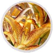 Lily Flower Garden Art Prints Canvas Floral Lilies Baslee Troutman Round Beach Towel