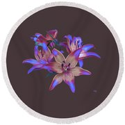 Lily Flowers Blue Maroon Round Beach Towel