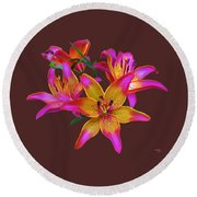 Lily Flowers Pink Maroon Round Beach Towel