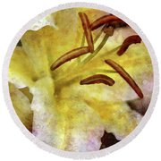 Lily In The Rain 1799 Idp_2 Round Beach Towel