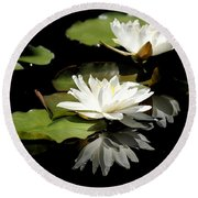 Lily Of The Lake Watercolor Round Beach Towel