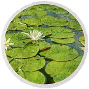 Lily Pad Flowers Round Beach Towel