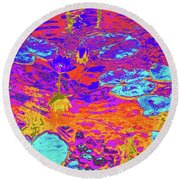 Lily Pads And Koi 16b Round Beach Towel