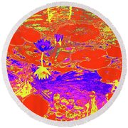 Lily Pads And Koi 29 Round Beach Towel