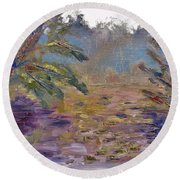 Lily Pads On A Pond, Overcast Sky 3pm Round Beach Towel