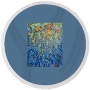 Lily Pads Water Lily Paintings Round Beach Towel