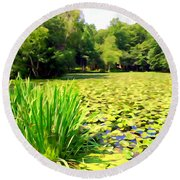 Lily Pond #4 Round Beach Towel