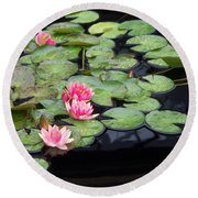Lily Pond Monet Round Beach Towel