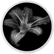 Lily Raindrops In Giverny, France, Black And White Round Beach Towel