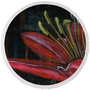 Lily Red Round Beach Towel