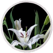A White Oriental Lily Surrounded Round Beach Towel