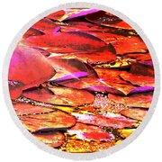 Crimson Lilypads Floating.. Round Beach Towel