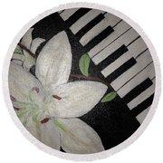 Lily's Piano Round Beach Towel