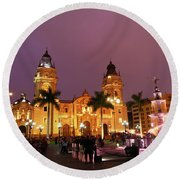 Lima Cathedral And Plaza De Armas At Night Round Beach Towel