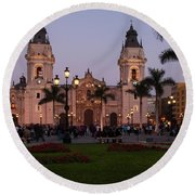 Lima Cathedral At Night Round Beach Towel