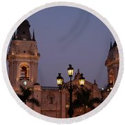 Lima Cathedral Twin Towers One Round Beach Towel