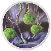 Lime And Violet In Harmony Round Beach Towel