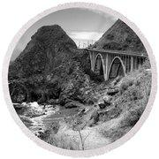 Lime Creek Bridge Highway 1 Big Sur Ca B And W Round Beach Towel