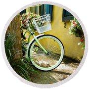 Lime Green Bike Round Beach Towel