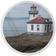 Lime Kiln Lighthouse Panorama Round Beach Towel