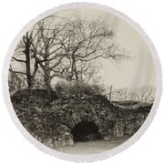 Lime Kilns At Plymouth Meeting Round Beach Towel