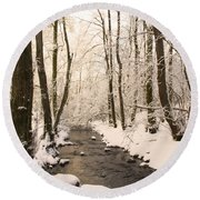 Limentra In Winter Round Beach Towel