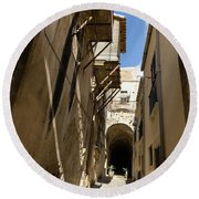 Limestone And Sharp Shadows - Old Town Noto Sicily Italy Round Beach Towel