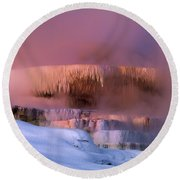 Limestone Artwork Minerva Springs Yellowstone National Park Round Beach Towel
