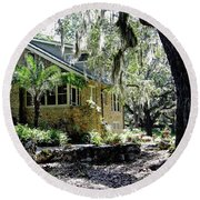 Limestone Home In The Trees Round Beach Towel