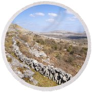 Limestone Pavements And Dry-stone Walls, Fahee North, Burren, County Clare, Ireland Round Beach Towel