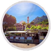 Limone Sul Garda Square And Church View Round Beach Towel
