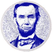 Lincoln Abstract Blue Round Beach Towel