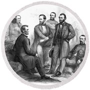Lincoln And His Generals Black And White Round Beach Towel