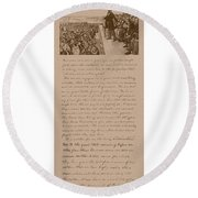 Lincoln And The Gettysburg Address Round Beach Towel