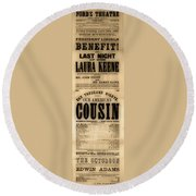 Lincoln Assassination Round Beach Towel