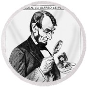 Lincoln Cartoon, 1873 Round Beach Towel