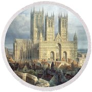 Lincoln Cathedral From The North West Round Beach Towel by Frederick Mackenzie