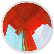 Lincoln Colomn Red Round Beach Towel