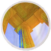 Lincoln Column Yellow Round Beach Towel
