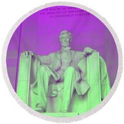 Lincoln In Purple Round Beach Towel