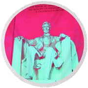 Lincoln In Red Round Beach Towel