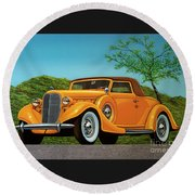 Lincoln K Convertible 1935 Painting Round Beach Towel