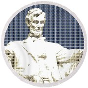 Lincoln Memorial - Dark Blue Round Beach Towel
