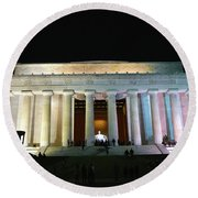 Lincoln Memorial - From Reflecting Pool Round Beach Towel