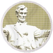 Lincoln Memorial - Gold Round Beach Towel