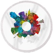 Lincoln Small World Cityscape Skyline Abstract Round Beach Towel